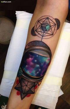 Amazing Galaxy Helmet Dot Work Tattoo On Forearm