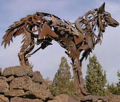 A recycled metal wolf sculpture by Greg Congleton
