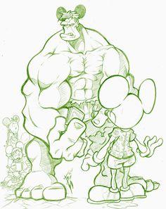 #Hulk #Fan #Art. (Hulk and Mouse) By: Skulljammer. (THE * 5 * STÅR * ÅWARD * OF: * AW YEAH, IT'S MAJOR ÅWESOMENESS!!!™) ÅÅÅ+