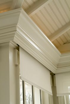 Hidden Blind Valence - traditional - family room - columbus - Michael Matrka, Inc. Hide indirect lighting like this? Window Coverings, Window Treatments, Window Cornices, Window Blinds, Motorized Blinds, Motorized Shades, Blinds Design, Solar Shades, Family Room Design