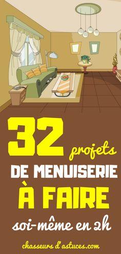 32 PROJETS DE MENUISERIE A FAIRE SOI-MÊME EN 2 HEURES. La chose la plus positive à propos de ces projets n'est pas qu'ils sont faciles ou rapides à construire (même si c'est plutôt cool), mais que chacun inclut un didacticiel utile ! Dremel, Bar, Diy And Crafts, Recycling, Sweet Home, Palette, Family Guy, Woodworking, How To Plan