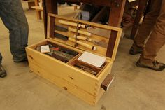 Port Hadlock WA - Boat School - Contemporary - dovetailed shoulder box used as a tool chest Woodworking Inspiration, Woodworking Guide, Woodworking Wood, Woodworking Projects Plans, Old Tool Boxes, Wooden Tool Boxes, Workshop Storage, Tool Storage, Storage Boxes