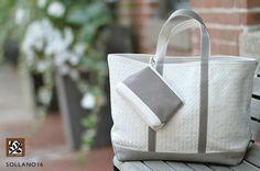 """De diseño italiano y tejidas a mano, los """"totes"""" de piel Lance Wovens llegaron a Sollano 16 en una gran variedad de colores y sutiles matices."""