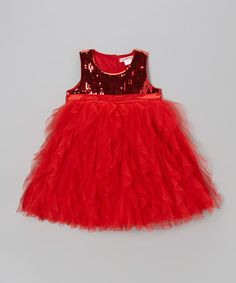 Red Sequin Babydoll Dress - Toddler & Girls #zulily #zulilyfinds