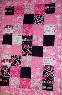 25+OFF/Ribbons+Of+Hope+Quilt+Breast+Cancer+by+BrownieQuilts,+$75.00