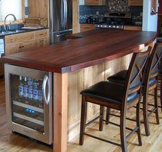 Wine Fridge - Reclaimed Wood Countertops  Tables Design Gallery | Pioneer Millworks