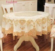 Nova Rodada de ouro tampa de plástico PVC impermeável pano de Mesa de chá Oleado cornija de Natal toalha de mesa de jantar tapete decoração do casamento do jardim(China)