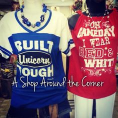Finally here!! Unicorns and Cougars get your school spirit on! Available at A Shop Around the Corner, New Braunfels, TX