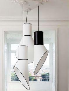 Luminária pendente com forma de cilindro e cone