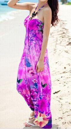 Sleeveless Color Block Halter Butterfly Print Bohemian Ankle-Length Dress