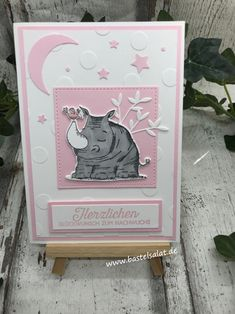 "Birthday card with the new element punch ""Moon and Star"" and the set ""Wild on Greetings"" Stampin & # Up! Stampin Up Karten, Baby Girl Cards, Baby Album, Punch, 2nd Baby, Animal Cards, Baby Kind, Stamping Up, Kids Cards"