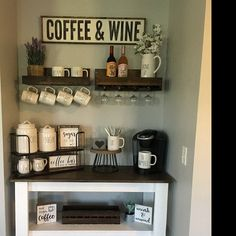 Wood Coffee and Wine Sign, Coffee Bar Decor, Gift for Coffee Lovers, Gift for Wine Lovers – Home coffee stations Wine And Coffee Bar, Coffee Bars In Kitchen, Coffee Bar Home, Home Coffee Stations, Coffee Bar Ideas, Coffe Bar, Coffee Bottle, Coffee Theme Kitchen, Bar In Kitchen