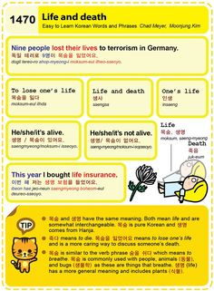 Easy to Learn Korean 1470 – Life and death. | Easy to Learn Korean (ETLK)