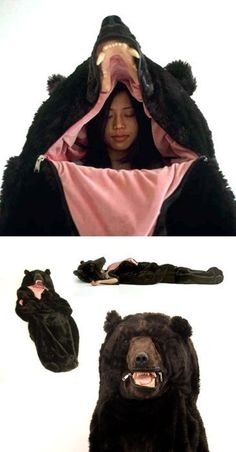 Rugged camping gear - lol a great way to get shot to death whilst camping!! Do they call this a suicide sleeping bag? Where i go camping u dont wear a bear costume, u wear bright orange!! Even when its not hunting season! Or u die.