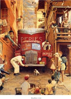 'Roadblock' (1949) another Norman Rockwell gem, doing what he does so well:  telling a story within the framework of a single painting.  This humorous subject has a wealth of details to look at within the painting, each adding a piece to the emerging story.