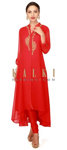 Buy Now Red kurti adorn in resham and kundan placket only on Kalki