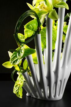 Peacock flower vase, designed by Los Angeles-based firm Aprilli, is a printed test tube flower vase designed to host dynamic, spatial and artistic floral arrangements. Flower Vase Design, Flower Vases, Flowers, Digital Fabrication, Floral Arrangements, Peacock, Herbs, Create, Prints