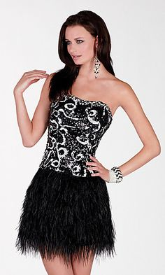 $498 Short Strapless Feathered Sequin Dress