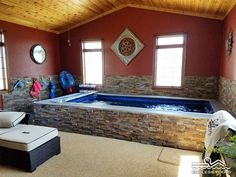 This model lets the homeowners swim in place, exercise, and enjoy pool fun all year round. Our modular design allows installation indoors, even in existing rooms. Small Swimming Pools, Above Ground Swimming Pools, In Ground Pools, Spa Images, Pool Images, Pool Liner Replacement, Pool Coping, Pool Liners, Pool Installation