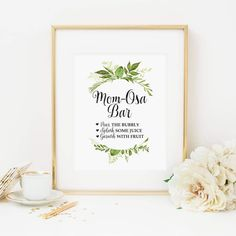 Mimosa Bar Printable Green Foliage Mom-Osa Drink Table Sign Baby Shower Table Sign Botanical Mimosa Shower Sign Natural Mimosa Sign 263 by MossAndTwigPrints on Etsy