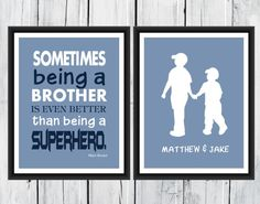 Superhero Brother Print  - Brother's Print  -  Custom Colors -  Nursery Decor - Superhero  Print - Boys Room Decor on Etsy, $8.00