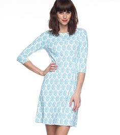 MARI PRINT BOATNECK DRESS    Flattering boat neck in our favorite nylon spandex. We love this belted with bangles and flats.