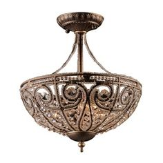 Shop for Elizabethan 3-light Semi-flush in Dark Bronze. Get free delivery at Overstock.com - Your Online Home Decor Shop! Get 5% in rewards with Club O!