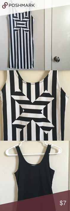 Divided black and white striped dress h&m