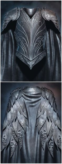 "Thranduil's ""leather feather"" armour from ""The Hobbit"". - WOAH THIS IS SO COOL I DIDN'T KNOW IT LOOKED LIKE WINGS!!! Thranduil, Legolas, Tauriel, Leather Jacket, Studded Leather Jacket, Leather Jackets, Leather Blazer"