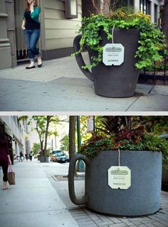 """container gardening, giant coffee cups.... love the name """"tags"""""""