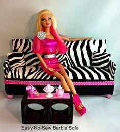 DIY No Sew Barbie Couch