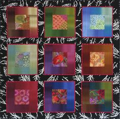 """""""Lustrous Squares II"""", 48 x 48"""", by Christine Barnes.  Made with Gradations ombré strips surrounding Kaffe Fassett prints."""