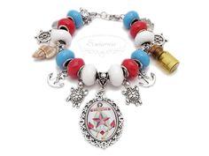 Marine style modular bracelet Pandora Charms, Handmade Jewelry, Pendants, Charmed, Bracelets, Earrings, Style, Ear Rings, Swag