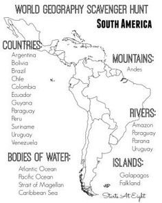 World Geography Scavenger Hunt: South America ~ FREE Printable World Geography Scavenger Hunt Printable South America from Starts At Eight Geography Worksheets, Geography Activities, Geography Lessons, Teaching Geography, Teaching History, Geography Classroom, Dinosaur Activities, Math Worksheets, Printable Worksheets