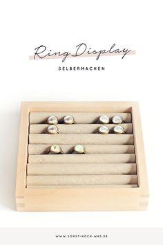 Mit ein paar Materialien kannst du dir ganz einfach ein Ring Display für Märkte und Messen oder für deinen Schmuck zuhause basteln.