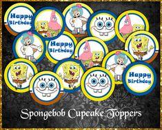 Spongebob Squarepants Cupcake Toppers Sponge Bob Cupcakes, Spongebob Squarepants, Cupcake Toppers, Etsy Store, Your Design, Card Stock, Vibrant Colors, Happy Birthday, Happy Brithday