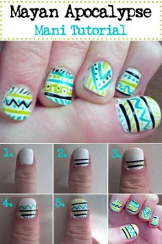 Manis inspired by the end of the world. Tribal mani inspired by the Mayans themselves.
