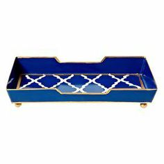 """Set out extra washcloths in your master bath or catch mail and keys in the foyer with this hand-painted metal towel tray, featuring a trellis motif and contrasting trim.    Product: Towel trayConstruction Material: MetalColor: NavyFeatures: Hand-paintedTrellis motifDimensions: 5"""" H x 9"""" W x 5"""" D"""