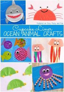 Cupcake Liner Ocean Animal Crafts for Kids