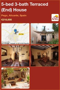 Terraced (End) House for Sale in Pego, Alicante, Spain with 5 bedrooms, 3 bathrooms - A Spanish Life Barrel Ceiling, Alicante Spain, Private Garden, Game Room, Townhouse, Terrace, Spanish, Bath, Bedroom