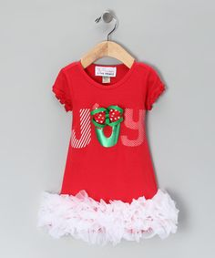Another great find on #zulily! Red 'Joy' Ruffle Dress - Infant, Toddler & Girls #zulilyfinds
