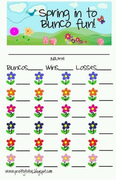 Spring Bunco scorecards