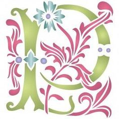 Letter Stencil (P) - Reusable Large Decorative Fancy Initial Monogram Letters Wall Stencil Template - Use On Paper Projects Scrapbook Journal Walls Floors Fabric Furniture Glass Wood Etc.