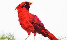 Des centaines de pétales de fleurs utilisées pour former de magnifiques oiseaux multicolores