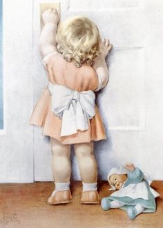 Bessie Pease Gutmann - Claras Best Friend Cindy Turns Four Years Old Today. Clara is so Excited About Going to the Birthday Party. Her Mama Tells Her Not to Worry Theyll Get There in Time. by Bessie Pease Gutmann Vintage Pictures, Baby Pictures, Vintage Images, Vintage Cards, Vintage Postcards, Bessie Pease Gutmann, Robert Duncan, Vintage Children, Belle Photo