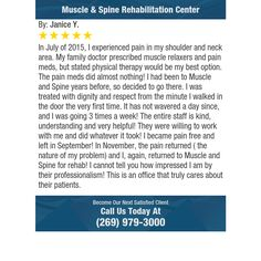 In July of 2015, I experienced pain in my shoulder and neck area.  My family doctor...