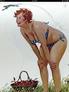 HILDA -- in her blue polka dot bikini, (1950s)  with a basket of fresh picked fruit... My Frog Prince !!! wait for me!