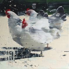 Three Chickens by Tor-Arne Moen - Egg oil on canvas