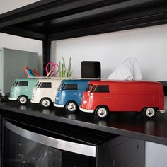 Strong reasons to buy a set of 4 iconic colours (green, blue, red and cream). VW1963 T1 bus multi-functional box is designed for use as tissue box, small indoor plant box, stationary box and smart phone holder. A real eye-catcher design ideal for home, office, restaurant and automotive use. #volkswagen #vwt1bus #carenthusiast #vwlovers #vwt1fans #vwt1lovers #vw #vwbus #lifestyle Small Indoor Plants, Stationary Box, T1 Bus, Plant Box, Smartphone Holder, Tissue Boxes, Catcher, Volkswagen, Strong
