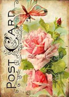 Victoriaanse rozen met vlinder op oude briefkaart door GalleryCat
